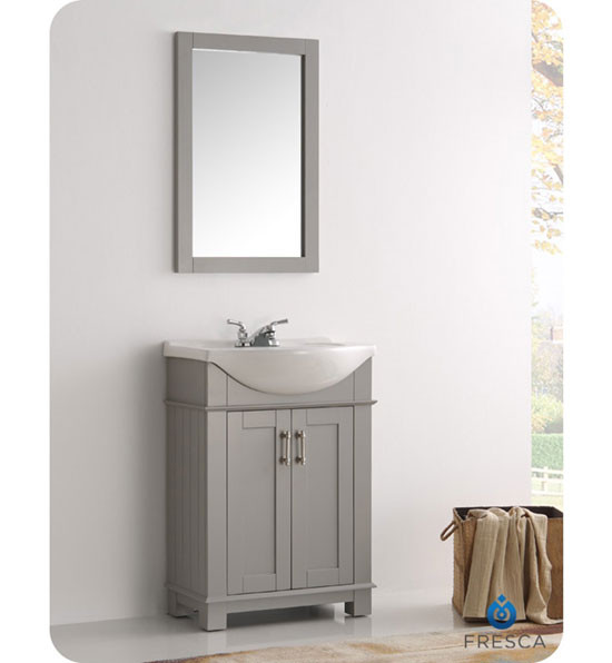 Fresca Hartford (single) 23.6-Inch Gray Modern Bathroom Vanity