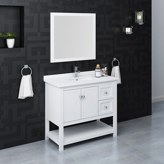 Fresca Manchester Single 42 Inch Modern Bathroom Vanity Set White