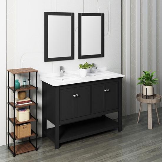 Fresca Manchester Double 48 Inch Modern Bathroom Vanity Set Black