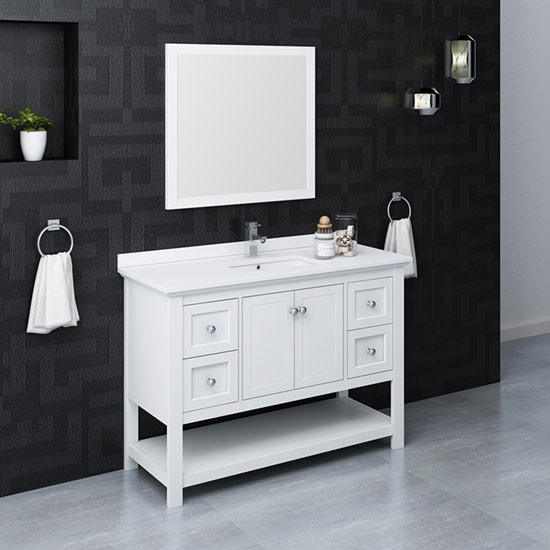 Fresca Manchester Single 48 Inch Modern Bathroom Vanity Set White