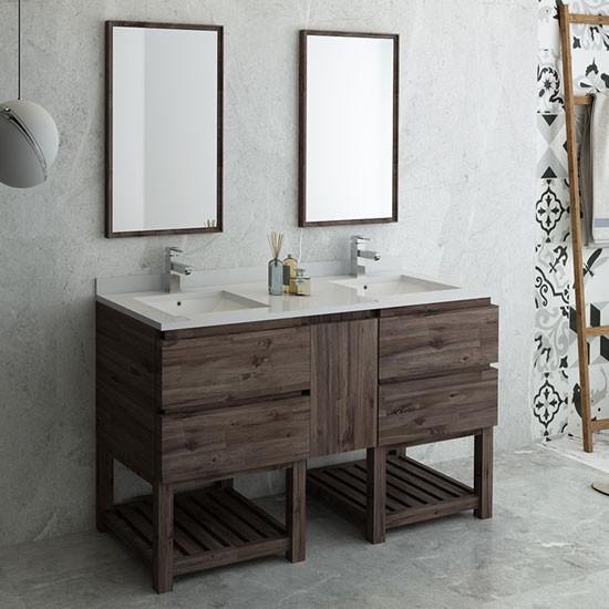 Fresca Formosa Double 60 Inch Modern Modular Bathroom Vanity Set W Open Bottom Model 2 Acacia
