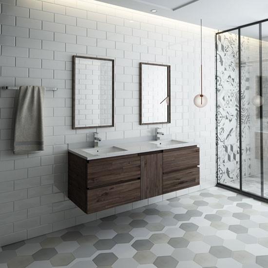 Fresca Formosa Double 60 Inch Modern Modular Wall Mount Bathroom Vanity Set Model 2 Acacia