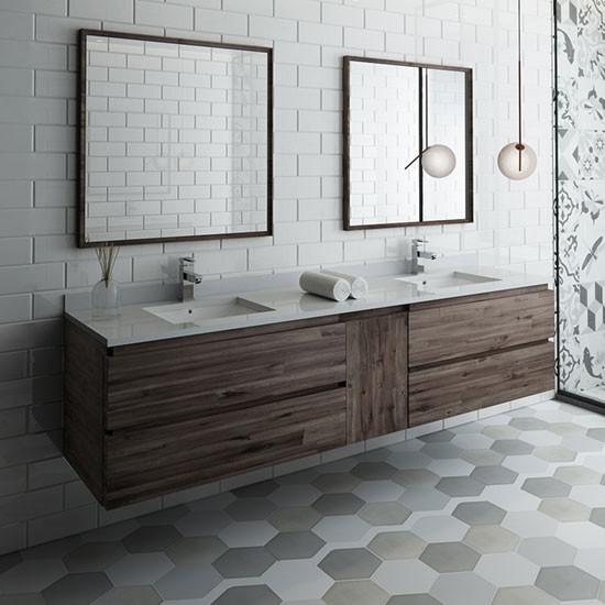 fresca formosa (double) 84-inch modern modular wall-mount bathroom vanity set - acacia