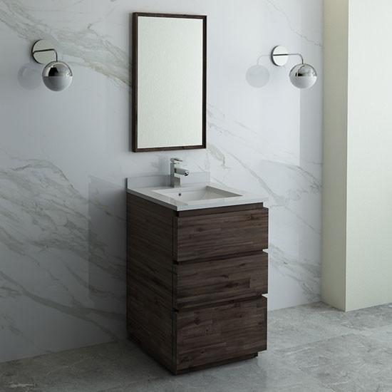 Fresca Formosa Single 24 Inch Modern Modular Bathroom Vanity Set Acacia