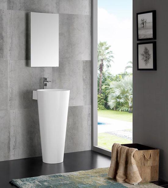 Fresca Messina (single) 15.75-Inch White Modern Pedestal Bathroom Vanity Set