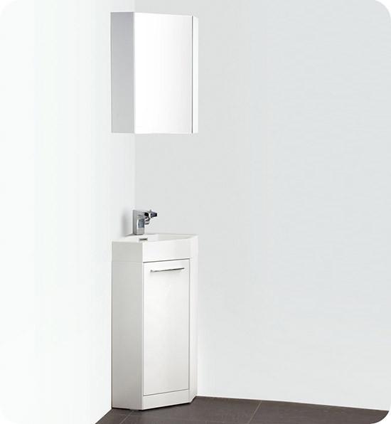 Fresca Coda (single) 14-Inch White Modern Corner Bathroom Vanity