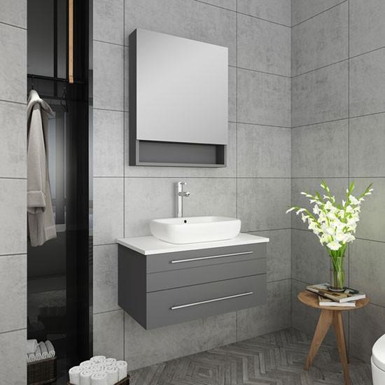 Fresca Lucera Single 30 Inch Modern Wall Mount Bathroom Vanity Set Gray Vessel