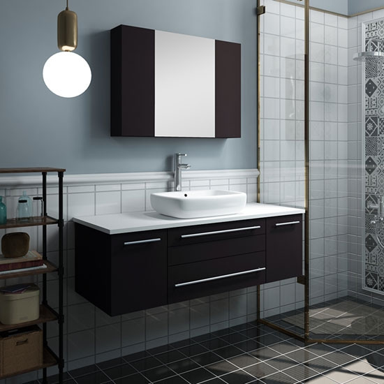 Modern Wall Mount Bathroom Vanity Set, Bathroom Vessel Vanity