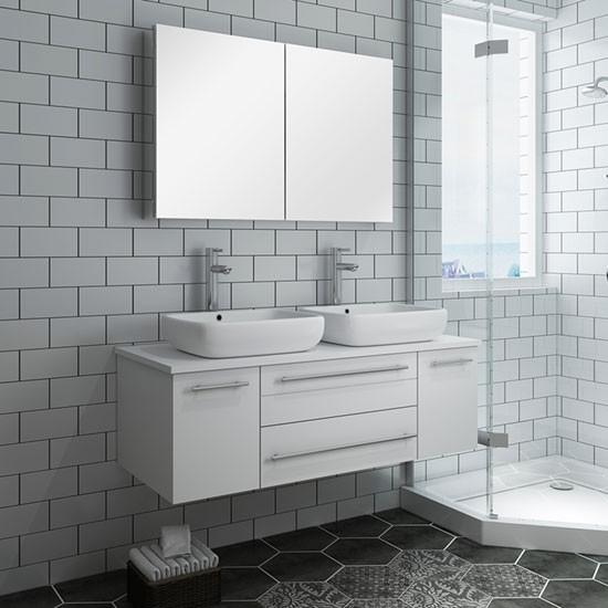 Fresca Lucera Double 48 Inch Modern Wall Mount Bathroom Vanity Set White Vessel