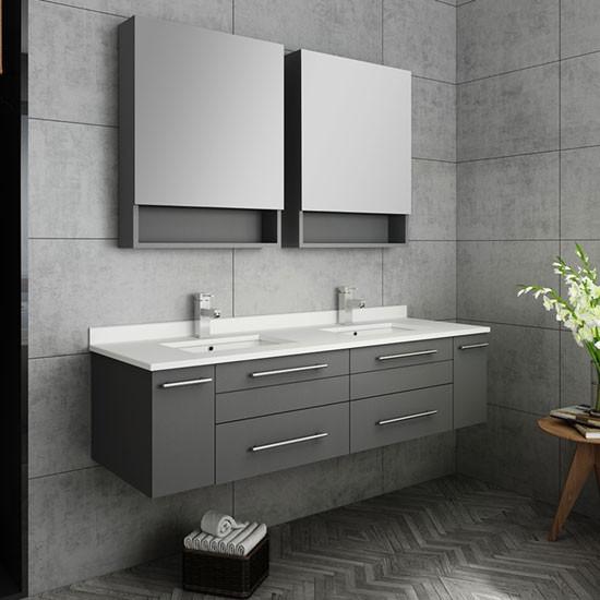 Fresca Lucera Double 60 Inch Modern Wall Mount Bathroom Vanity Set Gray Undermount