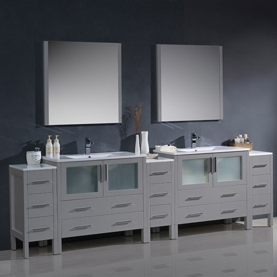 Fresca Torino (double) 108-Inch Gray Modern Bathroom Vanity with Integrated Sinks