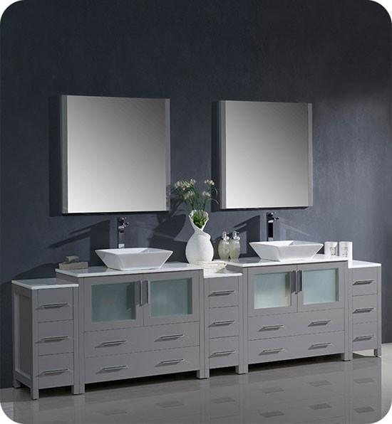Fresca Torino (double) 108-Inch Gray Modern Bathroom Vanity with Vessel Sinks