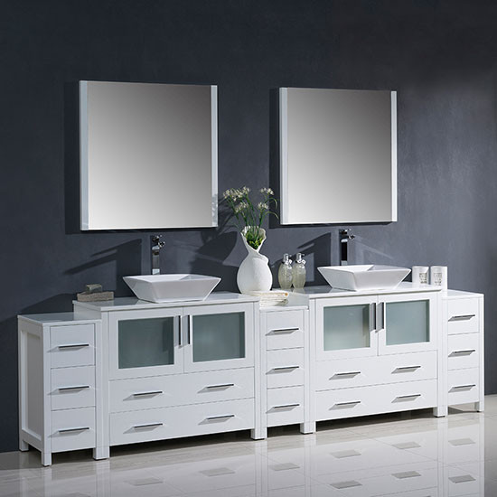 Fresca Torino Double 108 Inch Modern Bathroom Vanity White With Vessel Sinks