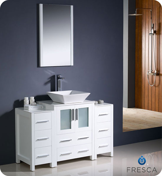 Fresca Torino (single) 48-Inch White Modern Bathroom Vanity with Vessel Sink