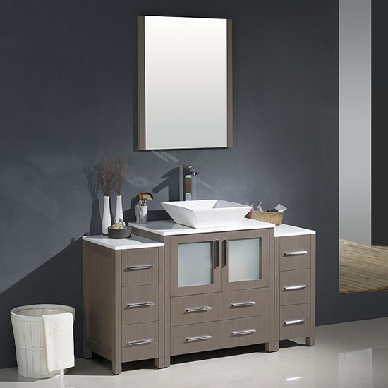 Fresca Torino (single) 54-Inch Gray Oak Modern Bathroom Vanity with Vessel Sink