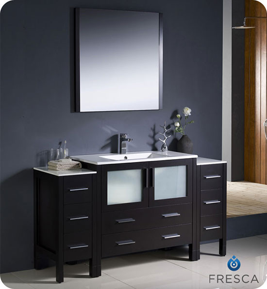 Fresca Torino (single) 59.75-Inch Espresso Modern Bathroom Vanity with Integrated Sink