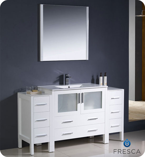 Fresca Torino (single) 59.75-Inch White Modern Bathroom Vanity with Integrated Sink