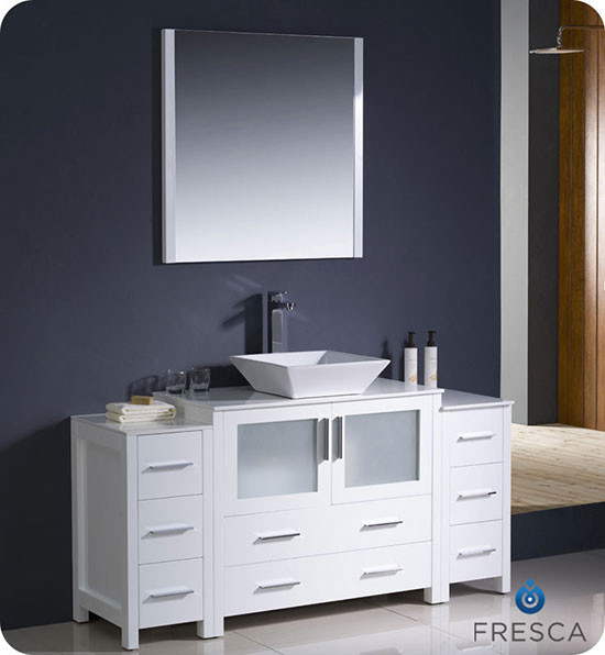 Fresca Torino Single Modern Bathroom Vanity White With Vessel Sink