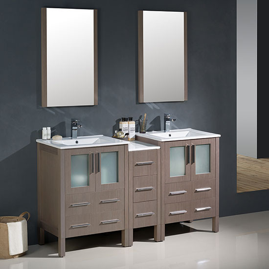 Fresca Torino (double) 60-Inch Gray Oak Modern Bathroom Vanity with Integrated Sinks