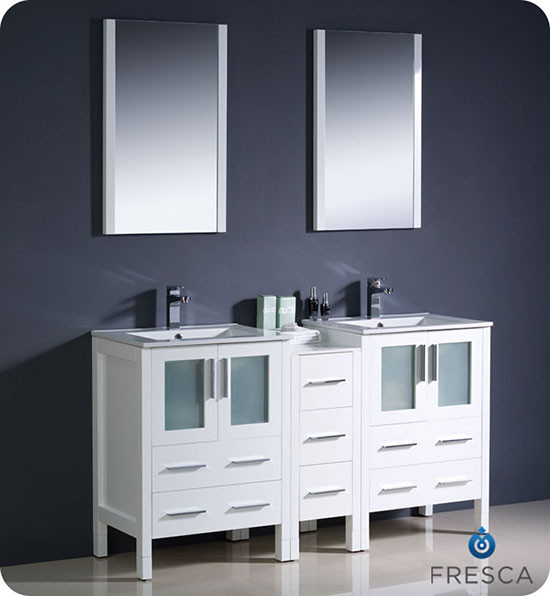 Fresca Torino (double) 60-Inch White Modern Bathroom Vanity with Integrated Sinks