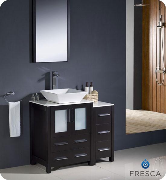 Fresca Torino (single) 36-Inch Espresso Modern Bathroom Vanity with Vessel Sink