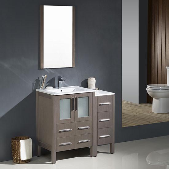 Fresca Torino (single) 36-Inch Gray Oak Modern Bathroom Vanity with Integrated Sink