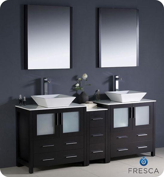 Fresca Torino (double) 72-Inch Espresso Modern Bathroom Vanity with Vessel Sinks