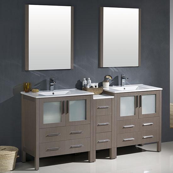 Fresca Torino (double) 72-Inch Gray Oak Modern Bathroom Vanity with Integrated Sinks