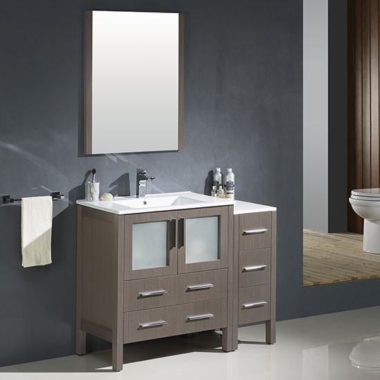 Fresca Torino (single) 42 Inch Modern Bathroom Vanity   Gray Oak With  Integrated Sink