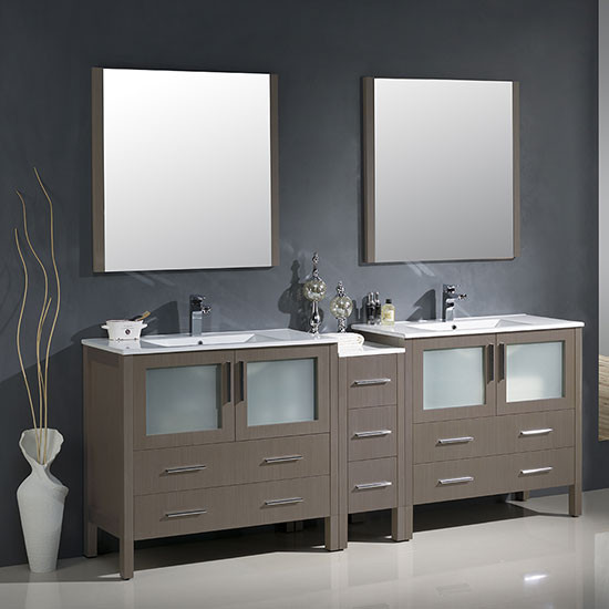 Fresca Torino Double 83 5 Inch Modern Bathroom Vanity Gray Oak With Integrated Sinks