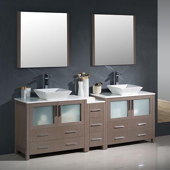 Fresca Torino Double 83 5 Inch Modern Bathroom Vanity Gray Oak With Vessel Sinks