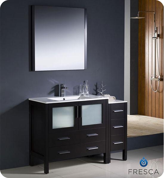 Fresca Torino (single) 47.75-Inch Espresso Modern Bathroom Vanity with Integrated Sink