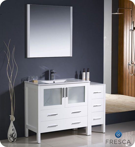 Fresca Torino (single) 47.75-Inch White Modern Bathroom Vanity with Integrated Sink