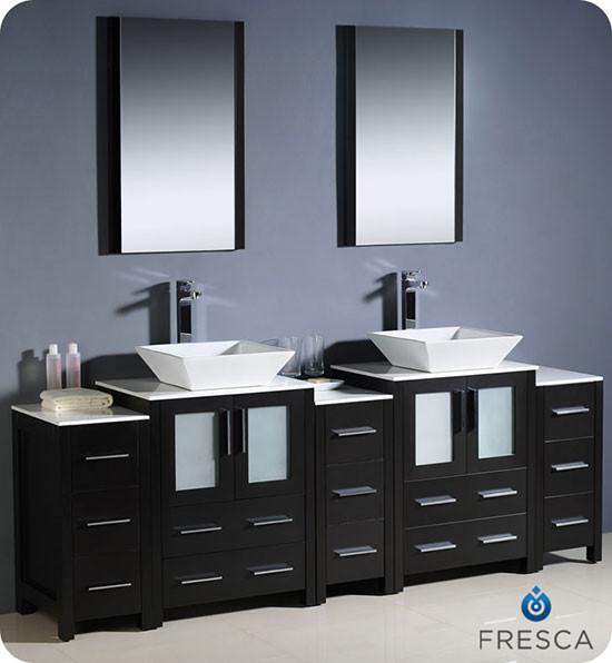 Fresca Torino (double) 84-Inch Espresso Modern Bathroom Vanity with Vessel Sinks