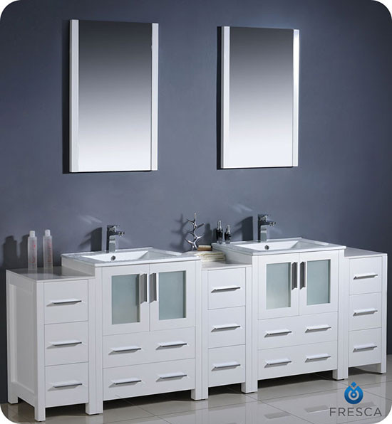 Fresca Torino Double 84 Inch Modern Bathroom Vanity White With