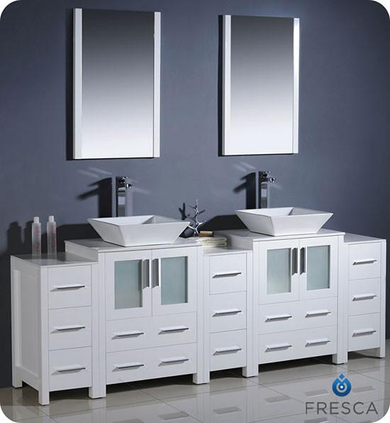 Fresca Torino (double) 84-Inch White Modern Bathroom Vanity with Vessel Sinks