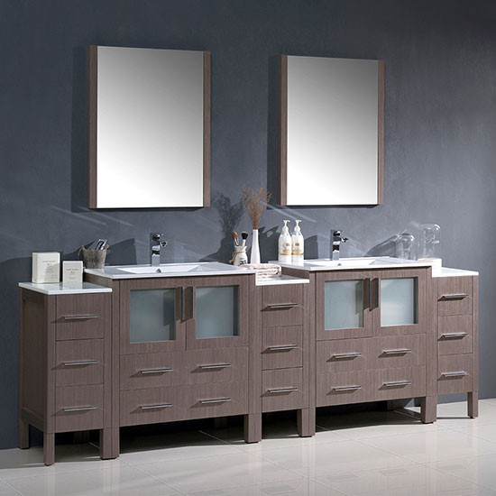 Fresca Torino Double 96 Inch Modern Bathroom Vanity Gray Oak With Integrated Sinks