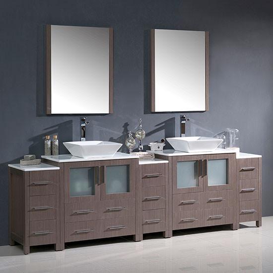Fresca Torino (double) 96-Inch Gray Oak Modern Bathroom Vanity with Vessel Sinks