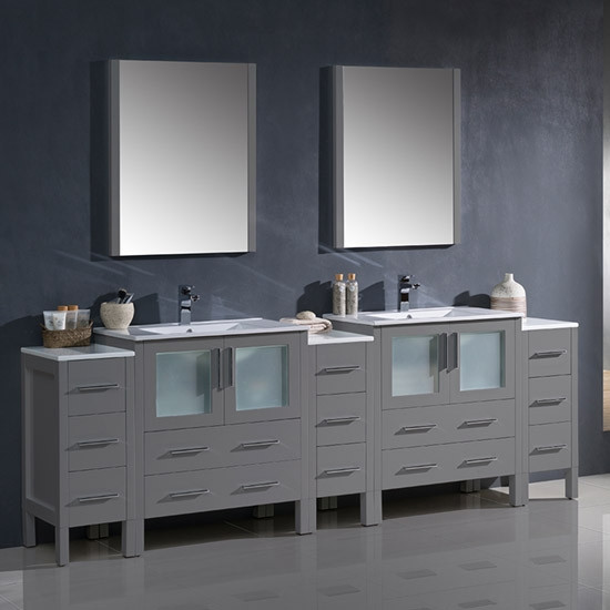 Fresca Torino (double) 96-Inch Gray Modern Bathroom Vanity with Integrated Sinks