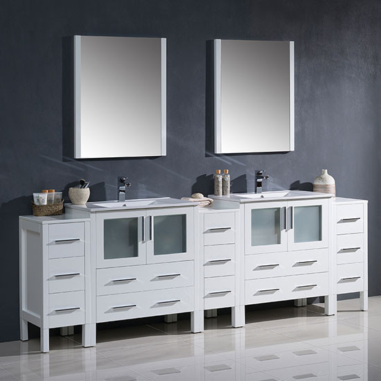 96 inch double vanity. Fresca Torino  double 96 Inch White Modern Bathroom Vanity with Integrated Sinks Double Vanities 90 Inches Wider