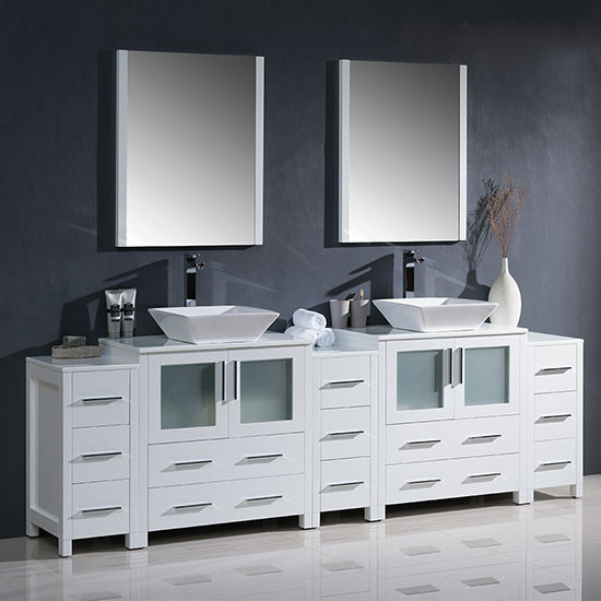 Fresca Torino (double) 96-Inch White Modern Bathroom Vanity with Vessel Sinks