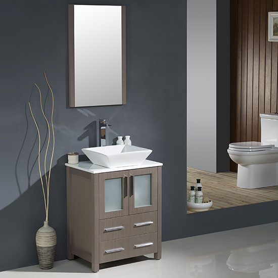 Fresca Torino (single) 24-Inch Gray Oak Modern Bathroom Vanity with Vessel Sink