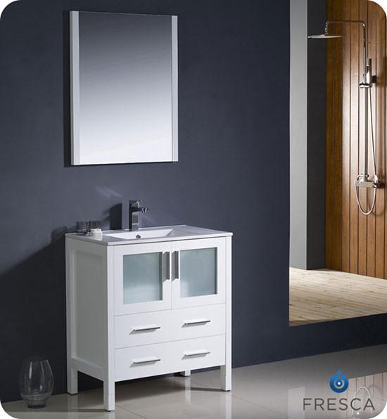 Fresca Torino (single) 30-Inch White Modern Bathroom Vanity with Integrated Sink