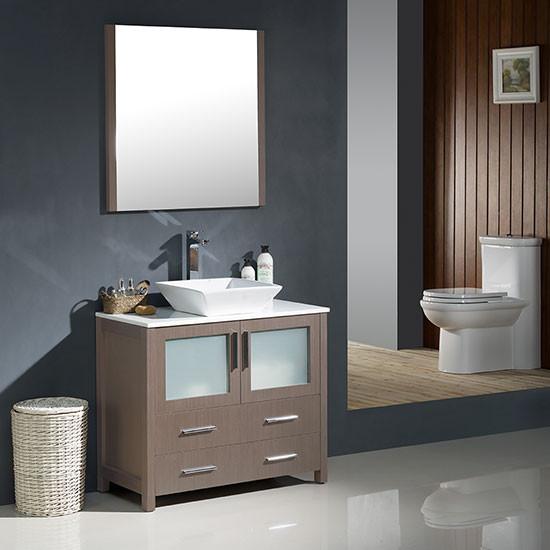 Fresca Torino Single Modern Bathroom Vanity Gray Oak With Vessel Sink