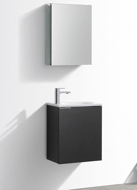 Fresca Valencia (single) 19.7-Inch Black Modern Wall-Mount Bathroom Vanity Set