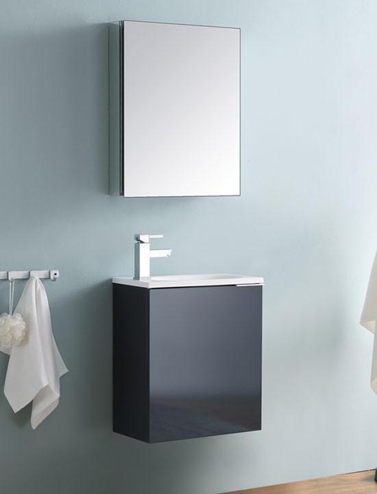 Fresca Valencia (single) 19.7 Inch Glossy Gray Modern Wall Mount Bathroom  Vanity Set