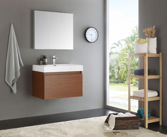 Fresca mezzo single 29 5 inch modern wall mount bathroom for Levi 29 5 single modern bathroom vanity set