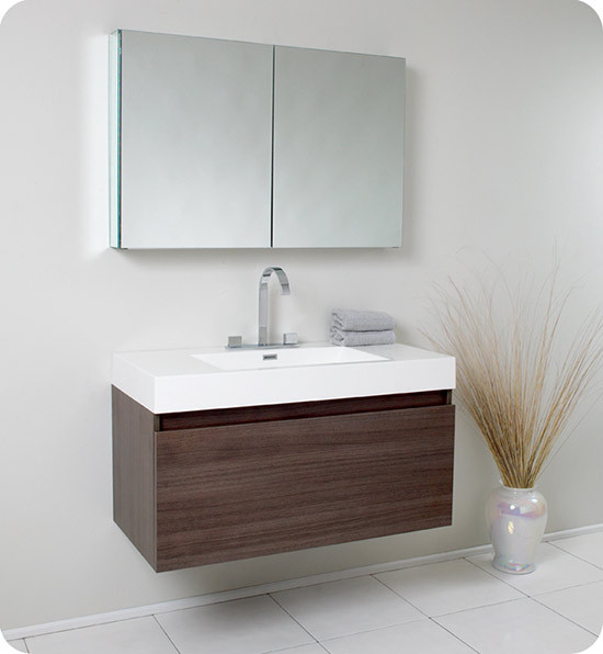 Fresca mezzo single 39 inch modern wall mount bathroom vanity gray oak - Kona modern bathroom vanity set ...