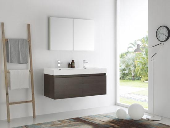 Fresca Mezzo (double) 47.3-Inch Gray Oak Modern Wall-Mount Bathroom Vanity Set