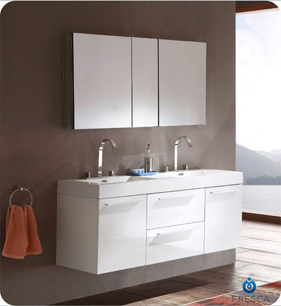 Fresca Opulento (double) 54-Inch White Modern Wall-Mount Bathroom Vanity Set